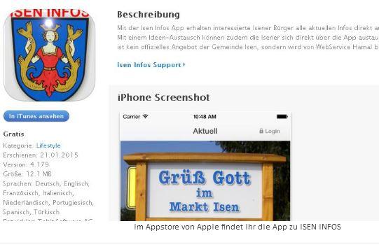 Link auf Appstore zur App Isen Infos