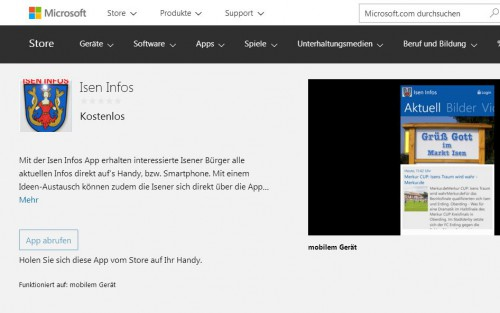 Windows Phone App verfügbar