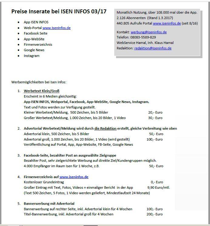 Preisliste Inserate Isen Infos 2017-04
