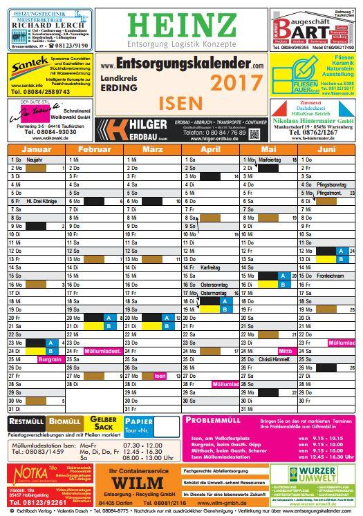 Isen - Entsorgungskalender 2017. Erstes Halbjahr