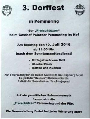 Dorffest Pemmering am 10.7.2016