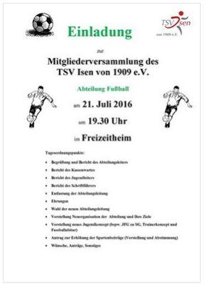 Abteilungsversammlung Fußball am 21.7.2016