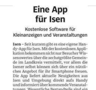 Presseberichte: SZ Eine App für Isen