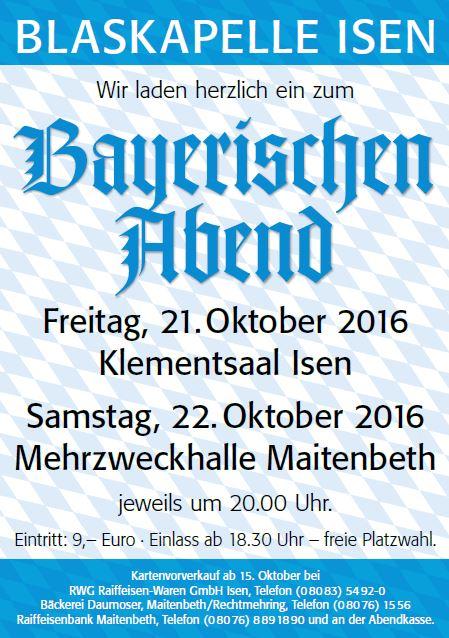 Bayerischer Abend der Blaskapelle Isen im Gasthof Klement