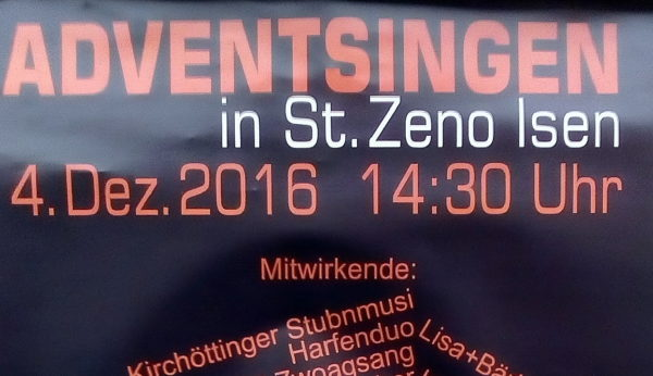 Isen: Adventsingen am 4. Dezember in der Pfarrkirche