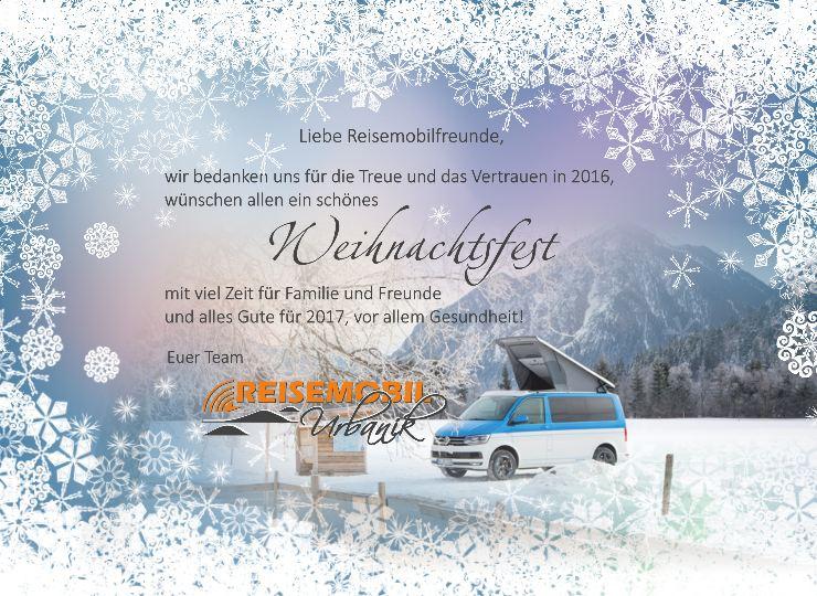 Weihnachtsgrlückwunsch von Reisemobile Urbanik aus Isen