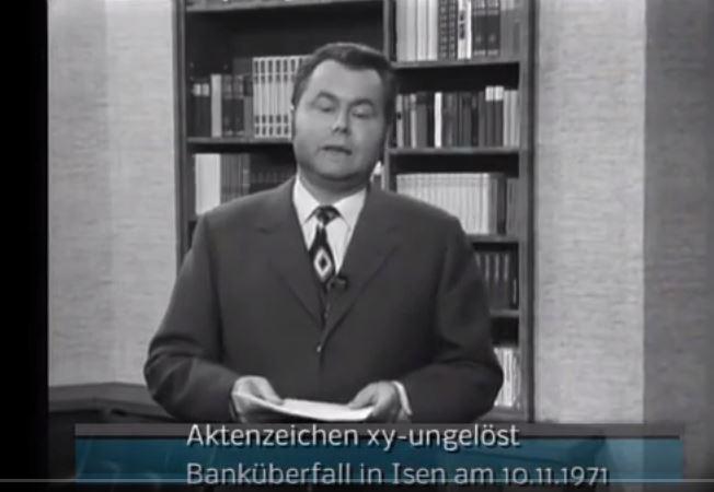 Eduard-Zimmermann bei Aktenzeichen xy ungelöst zum Banküberfall auf Sparkasse Isen