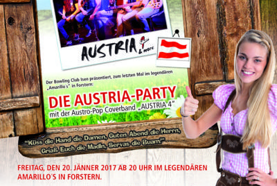 Bowling Club Isen: Austria-Party rockt am 20. Jänner in Forstern