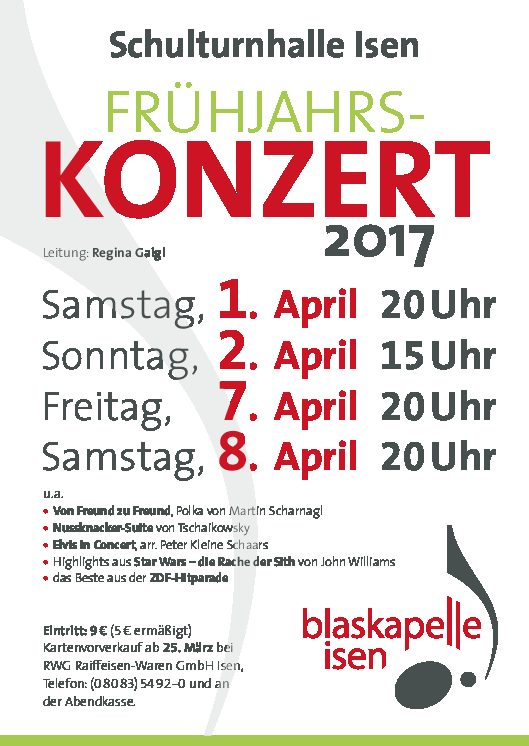 Kartenvorverkauf-Blaskapelle-Isen-Frühjahrskonzert