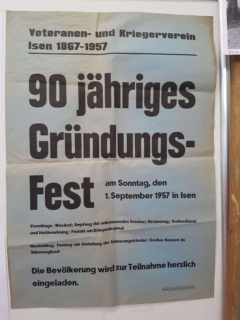 Plakat vom 90 jährigen Grundungsjubiläum im Jahr 1957 der Veteranen