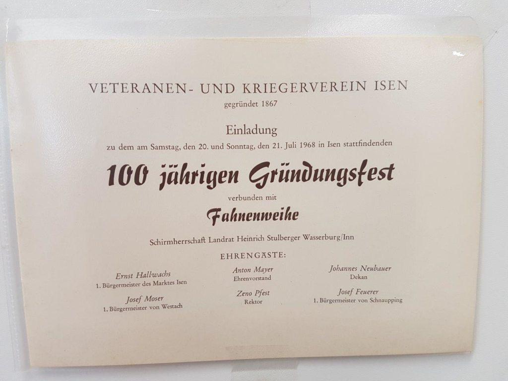 Erst ein Jahr später wurde das 100 jährige Gründungsfest 1968 des Veteranen und Kriegerverein Isen gefeiert.