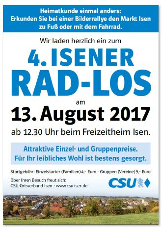"""Isener CSU lädt zur Radrundfahrt """"Rad-Los"""" ein"""