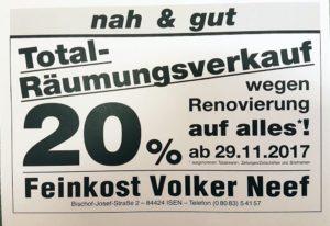 20% Rabatt auf Alles beim Räumungsverkauf bei Neef