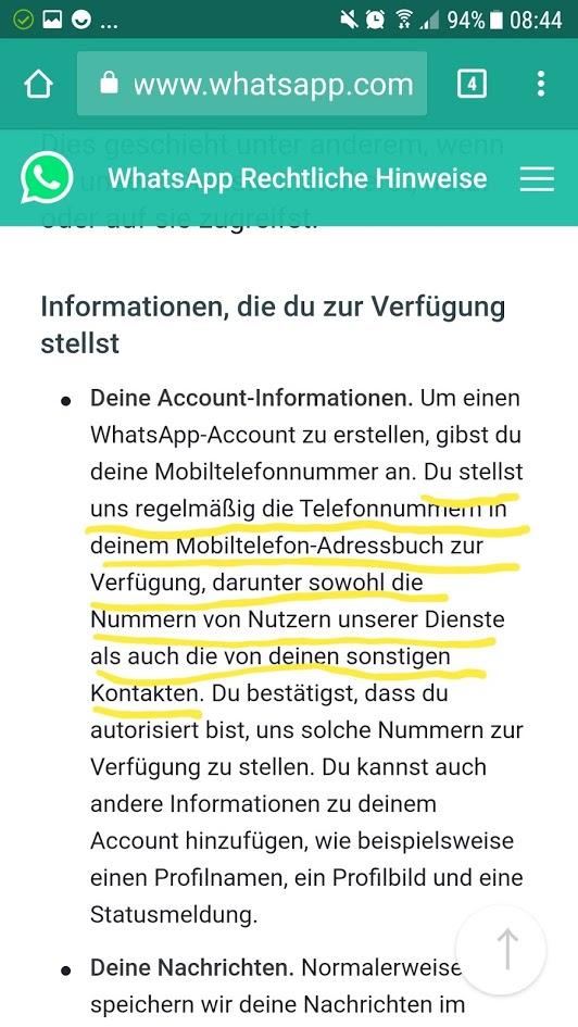 WhatsApp Business derzeit nicht nach DSGVO