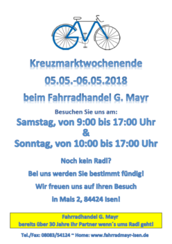 Kreuzmarktwochenende auch bei Fahrrad Mair