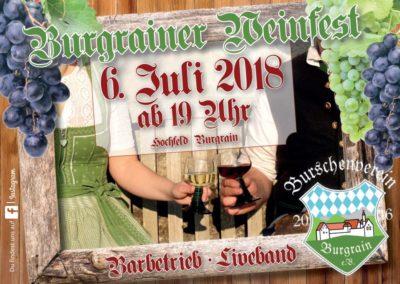 Weinfest und Petersfeuer in Burgrain am 6. und 7. Juli der Burschenschaft
