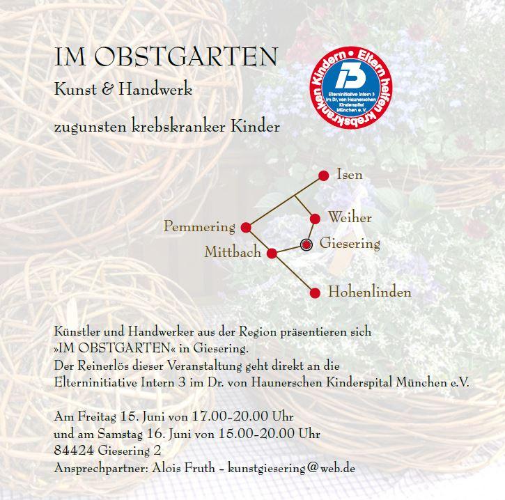 """Kunst-Ausstellung """"Im Obstgarten"""" in Giesering zu Gunsten der Elterninitative Intern 3 der Haunerschen Kinderspital"""