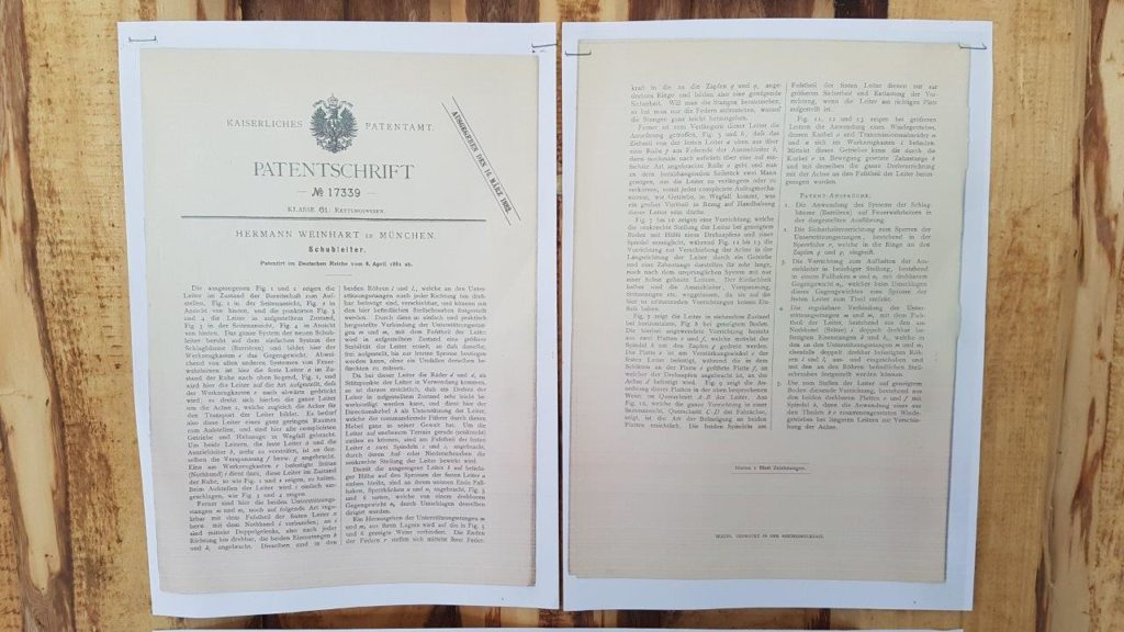Auszug aus der Patentschrift der Isener Feuerwehrleiter aus dem Jahr 1896