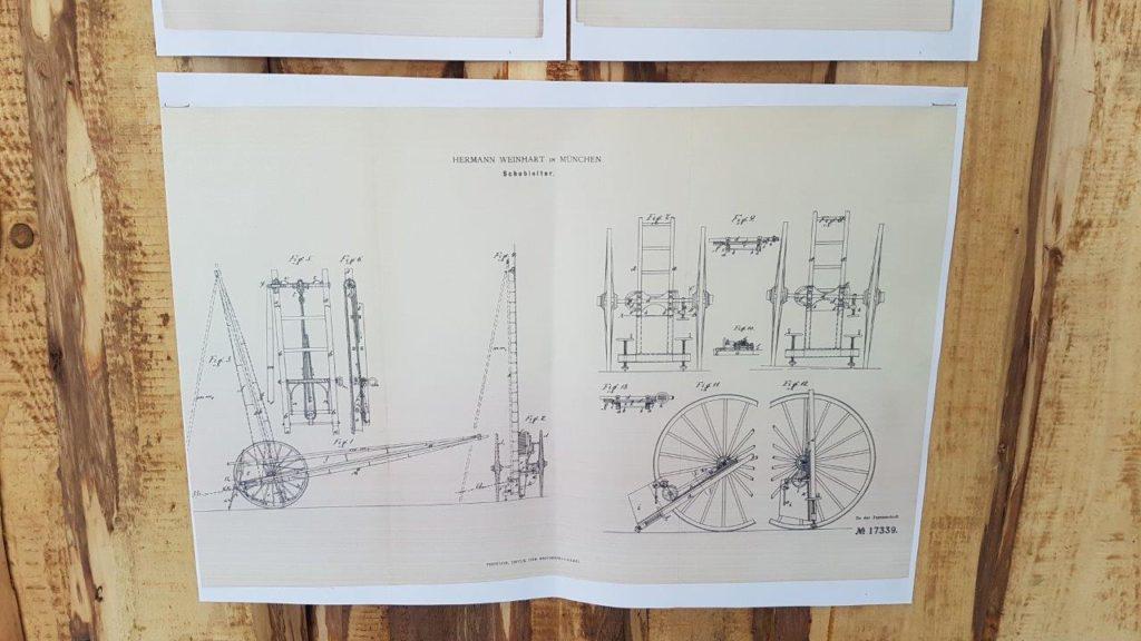 Konstruktionszeichnung der historischen Leiter der Feuerwehr Isen