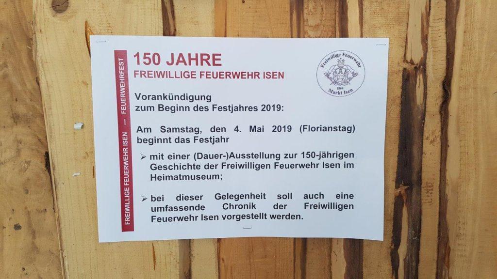 Vorankündigung auf das Jubiläumsjahr 2019, bei der die Isener Feuerwehr 150 Jahre wird.