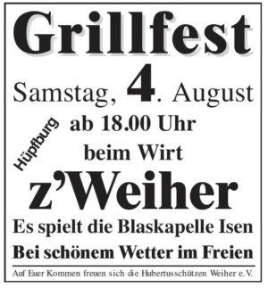 Grillfest der Hubertus-Schützen in Weiher