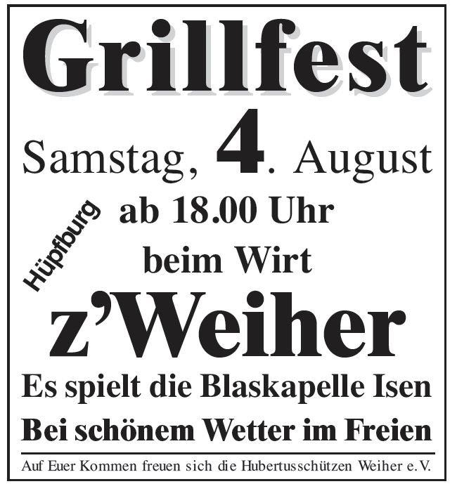 Grillfest der Hubertus-Schützen in Isen Weiher