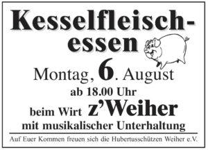 Kesselfleisch-Essen beim Wirt z'Weiher der Hubertus-Schützen in Isen Weiher