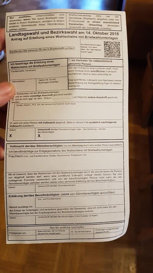 Wahlkarte-Landtagswahl und Bezirkstagswahl 2018