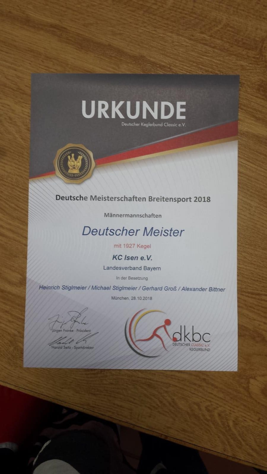 Deutscher Meister im Kegeln wurde der KC Isen 2018