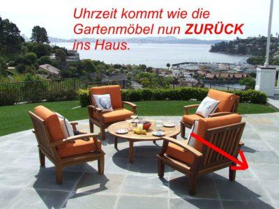 Wie die Gartenmöbel zurück ins Haus kommen, so wird auch die Uhrzeit zurück gestellt. Ende Sommerzeit