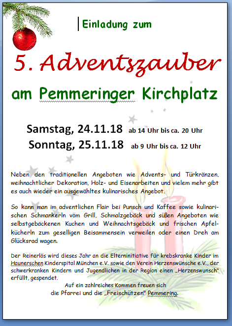 Adventszauber 2018 in Pemmering