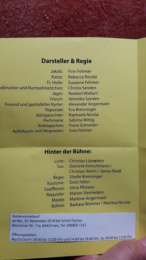 Rettet Rumpelstielzchen Theaterverein Isen 2018