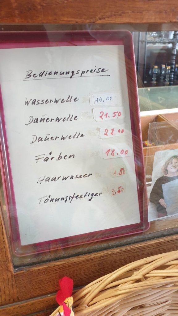 Das waren die früheren Haarschneide-Preise bei Frisör Raich in Isen