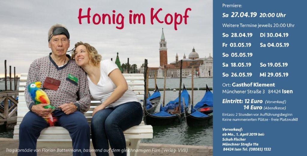 Plakat-Honig-im-Kopf Theaterverein Isen 2019