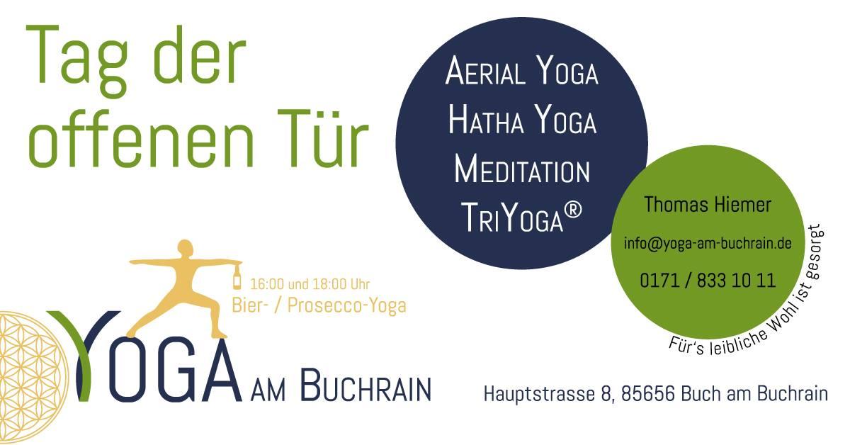 Bier und Prosecco Yoga am Tag der offenen Tür am Samstag 29.6. in Buch am Buchrain