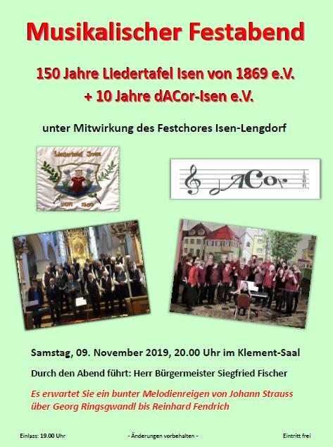 150 Jahr Feier Liedertafel Isen mit 10 Jahr-Feier von dACor im Klement am 9. November 2019