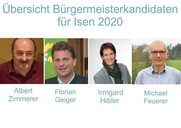 Übersicht Bürgermeister Kandidaten 2020 für Isen
