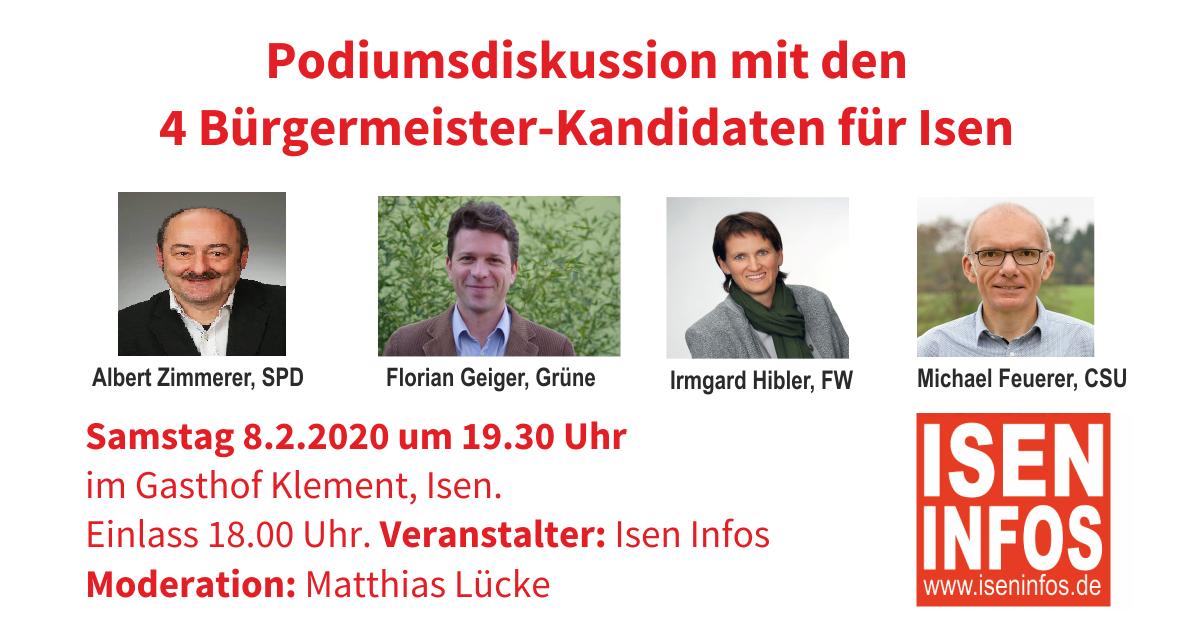 Podiums-Diskussion Isen Bürgermeister-Kandidaten