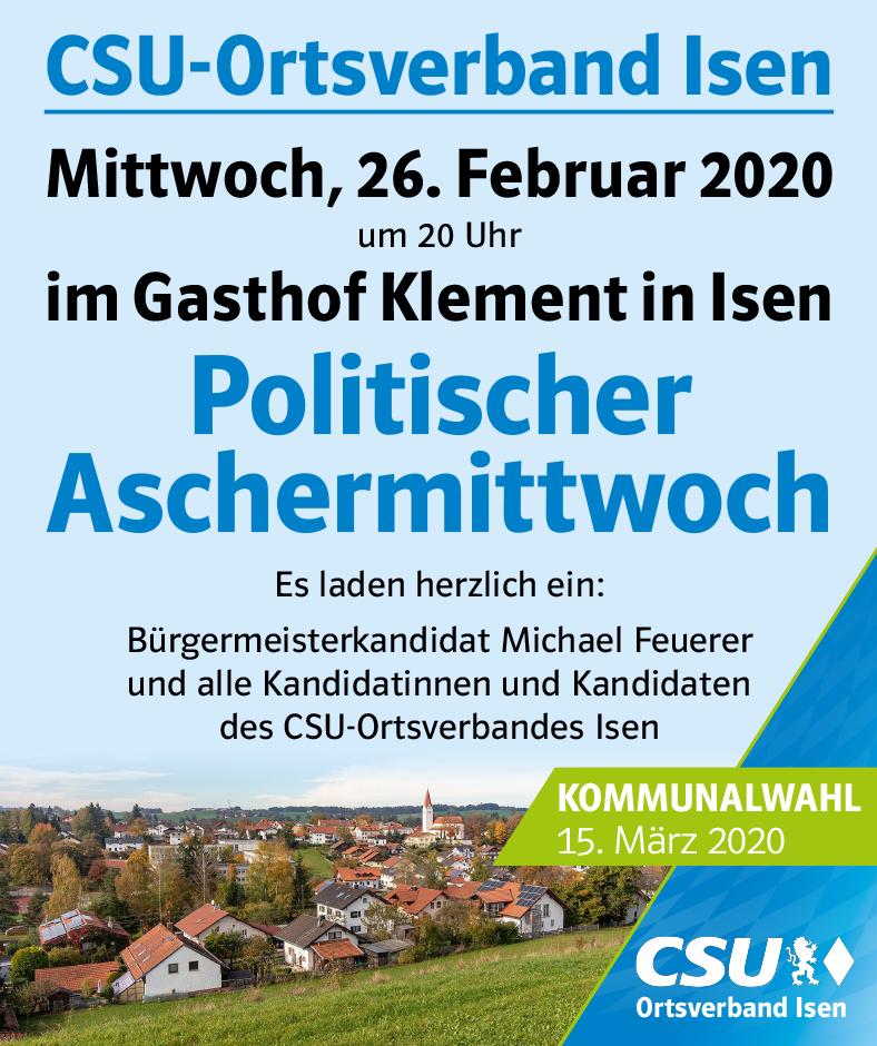 Politischer Aschermittwoch der CSU Isen mit Landrat Martin Bayerstorfer als Gast