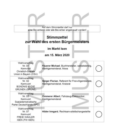Stimmzettel zur Bürgermeister- und Marktgemeinderatswahl 2020 in Isen