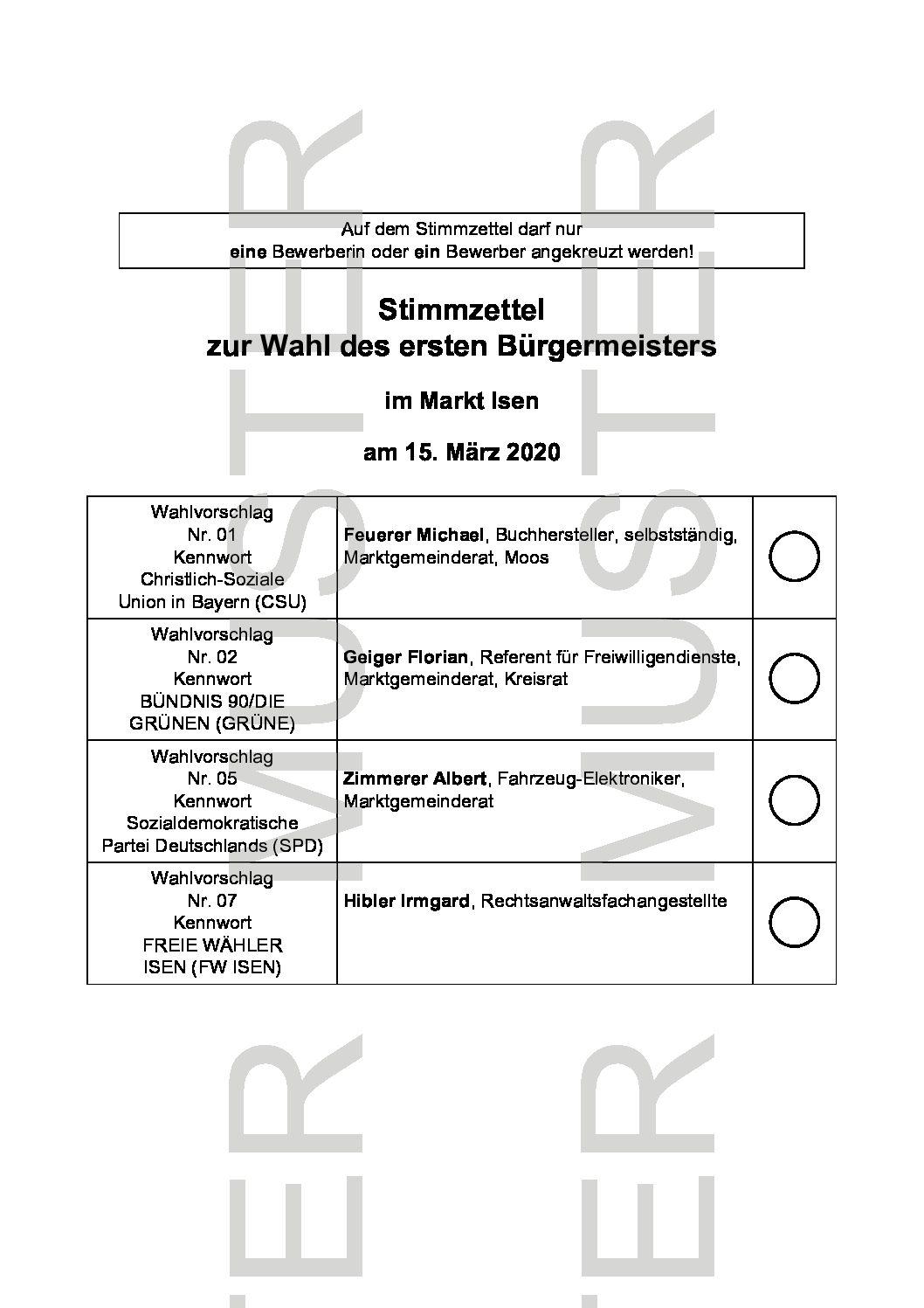 Stimmzettelmuster Bürgermeisterwahl Isen 2020
