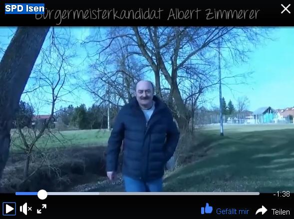 Video von SPD Bürgermeisterkandidat Albert Zimmerer für Isen zum Jugenzentrum