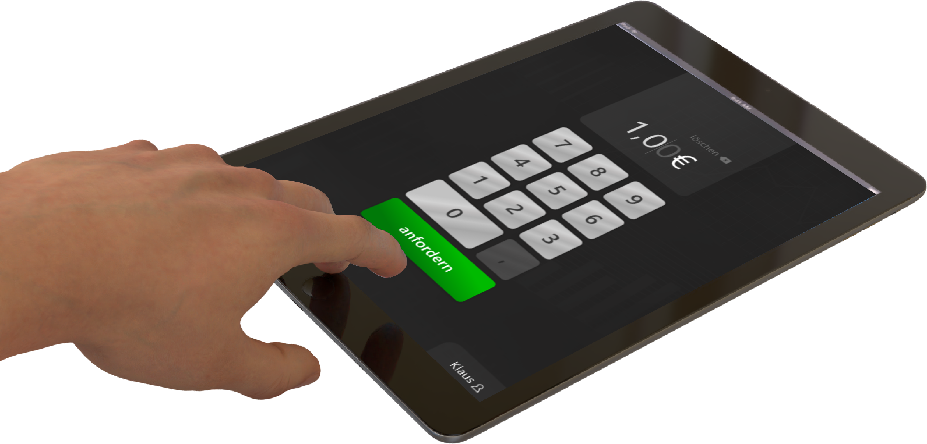 Kassierer tippt Zahlbetrag wie beim Kartenterminal am Tablet bei QRPay24 ein