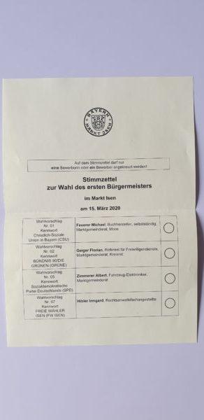 Stimmzettel Bürgermeisterwahl Isen 2020