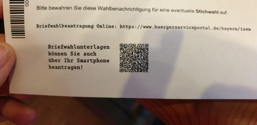 Briefwahl-Unterlagen mit QR-Code anfordern