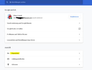 Google Chrome Passwörter anzeigen lassen