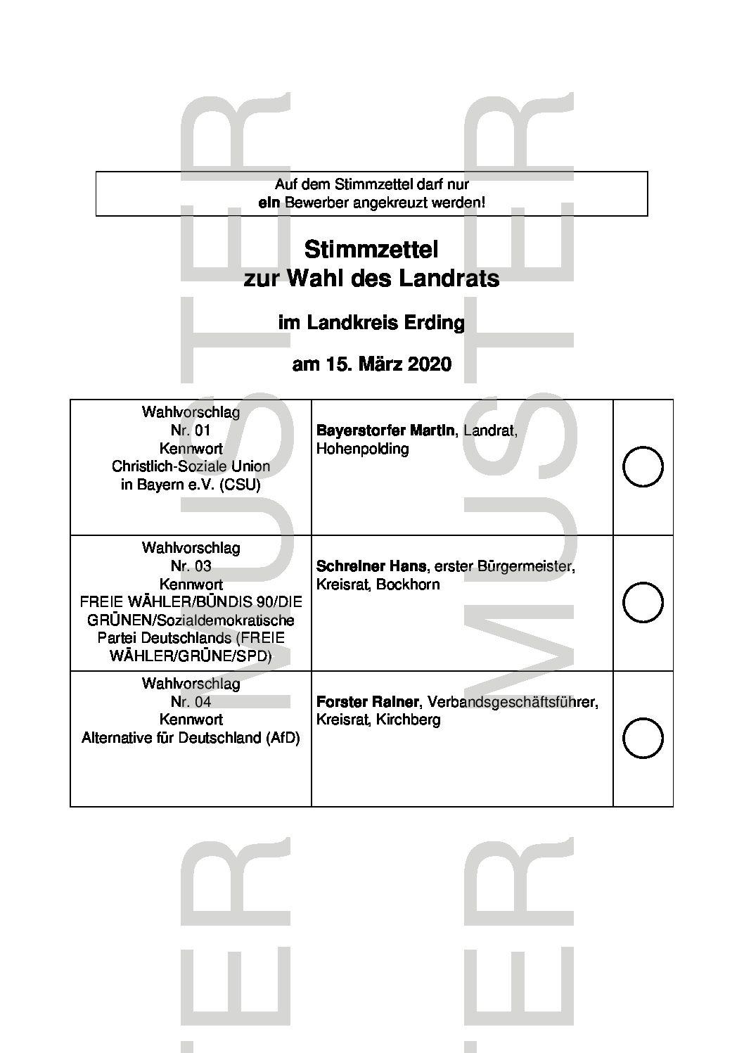 MUSTER - Stimmzettel Landratswahl