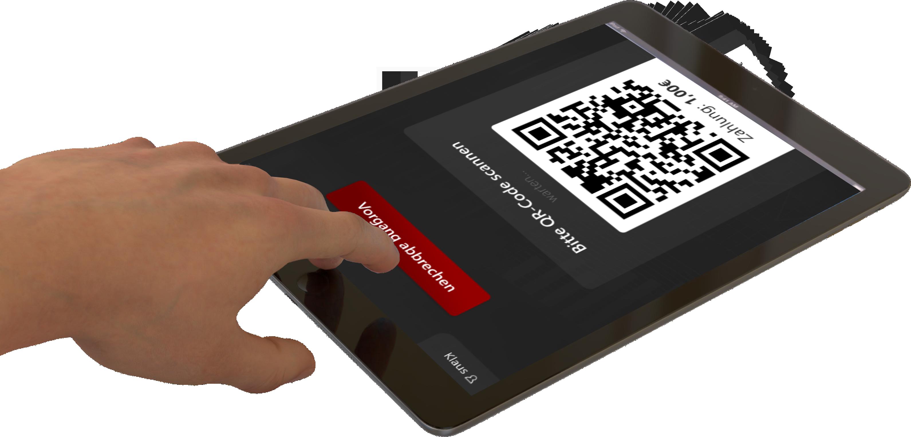 QR-Code wird automatisch für die Bezahlung von QRPay24 am Tablet erzeugt