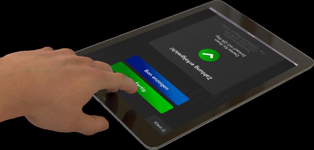 Sobald die Bezahlung erfolgreich war, erscheint eine Bestätigung von QRPay24 am Tablet, Zahlung erfolgreich