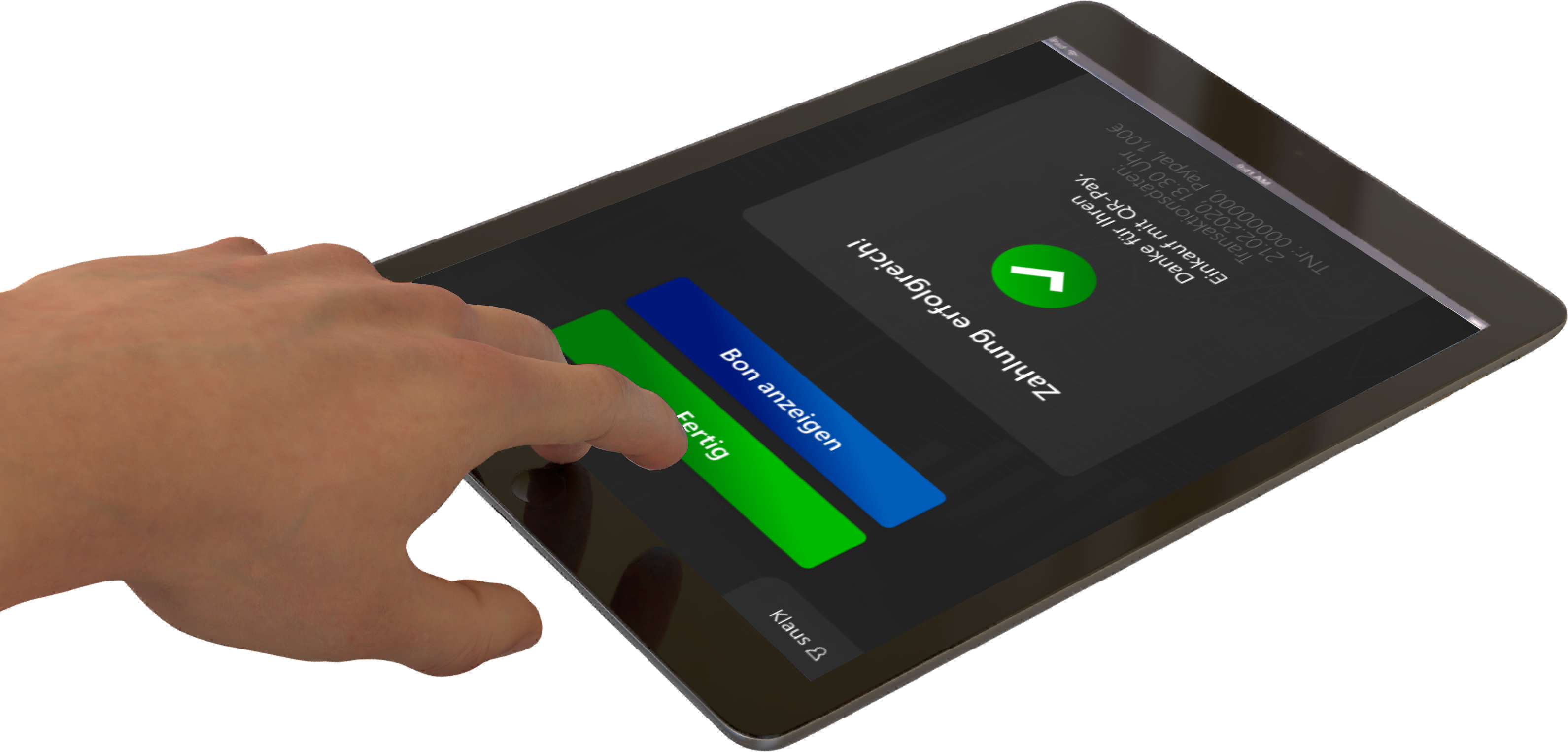 Tablet Zahlung erfolgreich